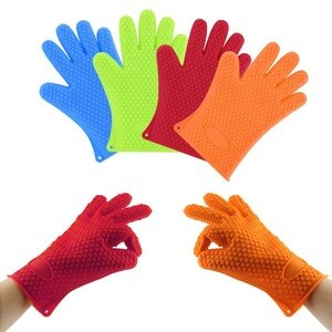 Kitchen Microwave Mitt Insulated Oven Heat Resistant Silicone Glove Oven Pot Holder Baking BBQ Cooking Non-slip Tools