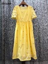 2020 Summer Fashion Dress High Quality Women Sexy Square Collar Little Flower Embroidery Short Sleeve Big Swing Yellow Dress XL