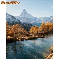 RUOPOTY PEINTURE A LA MAIN Par Numeros Lac Photo Sur Toile Paysage Coloriage Par Numeros Decor A La Maison Peintures Acryliques