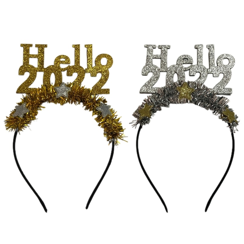 New Year Headbands Hello 2022 Star Hair Hoop New Year Party Favors Tinsel Photo Props Decoration Hol