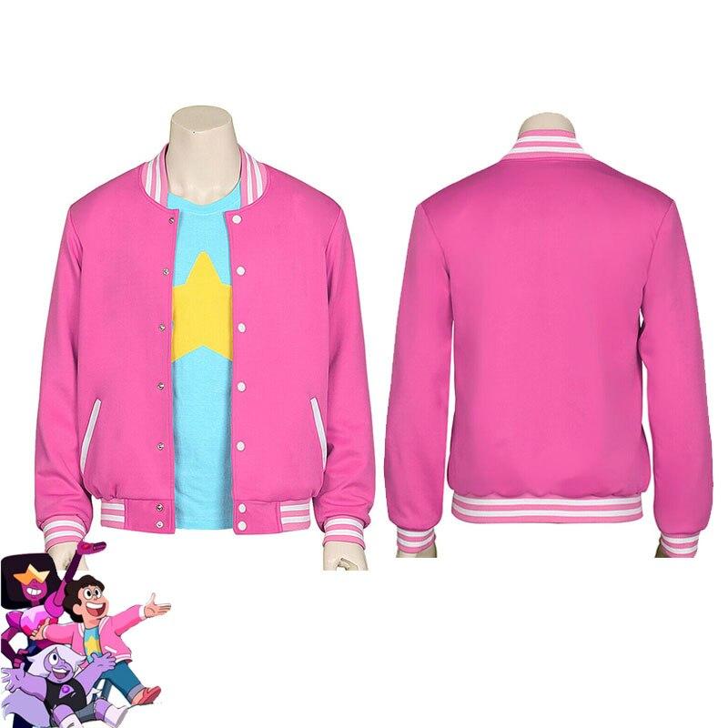 Unisex Steven chaqueta traje de béisbol con capucha Steven de cuarzo rosa abrigo gemas de cristal Cosplay universo Halloween Anime uniformes