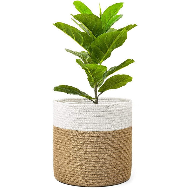Mrosaa tejido de algodón de yute cesta de la flor jardín maceta...