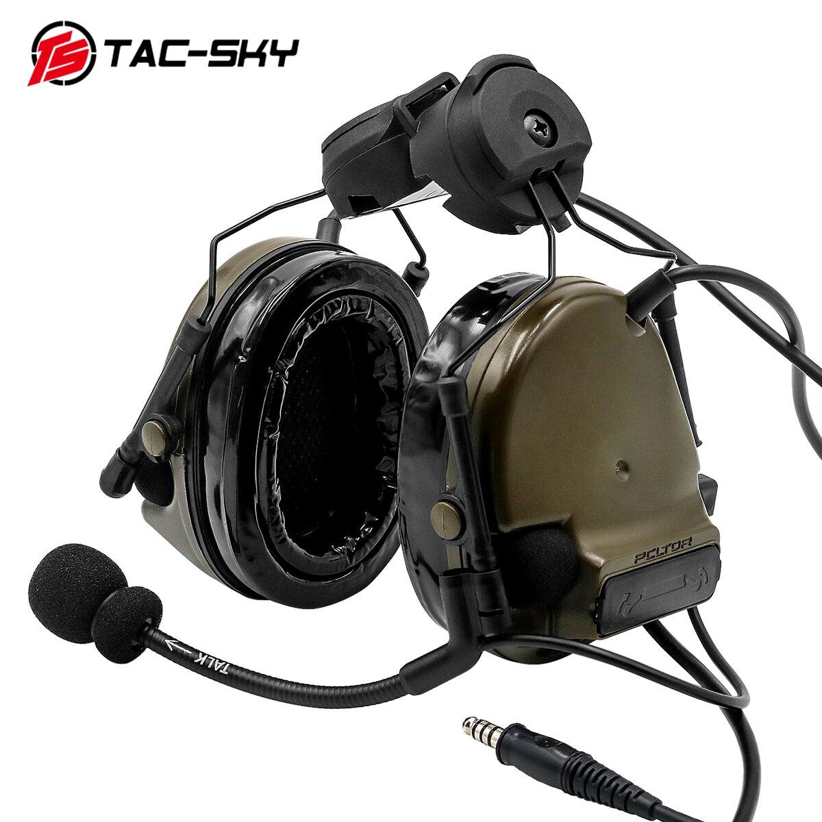 COMTAC TAC-SKY Comtac iii خوذة المسار السريع قوس الإصدار سيليكون للأذنين الحد من الضوضاء لاقط التكتيكية سماعة