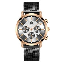New Fashion Men Luxury Watches Male Business Calendar Stainless Steel Mesh Casual Quartz Watch Relog