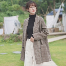 Chic Khaki 21 New Spring and Autumn Retro Plaid Coat Women's Loose Student Hong Kong Style Mid-Lengt
