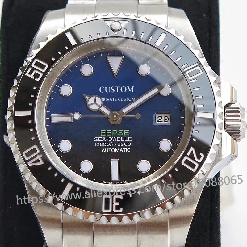 Роскошные брендовые автоматические механические часы для мужчин, мужские часы GMT 44 мм, сапфировое стекло, светящееся, глубокая нержавеющая сталь, море