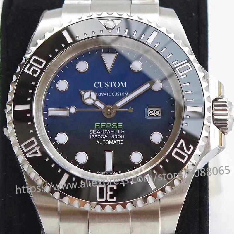 Reloj mecánico automático de marca de lujo para hombres GMT 44mm cristal de zafiro luminoso de acero inoxidable profundo