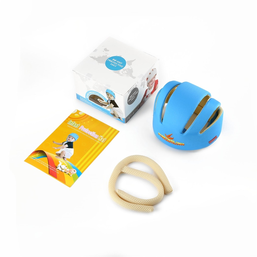 Infant Step Safety Hat Safety Cotton Helmet Top Protective Children Cap Summer Bonnet Soft Boys Girls Hat E Head 3 Lines
