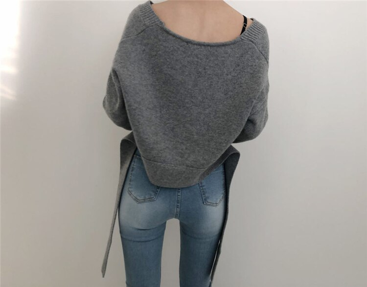 Irregular pullover lazy style V-neck sweater 2021 autumn new front and rear two-wear lace-up sweater outer wear