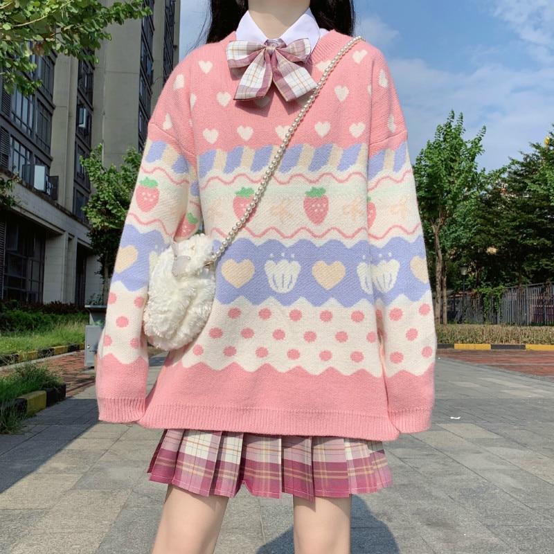 Pink JK Sweater Coats V Neck Navy Sailor Suit Japanese School Uniform Sweater Girls Pleated Vintage Coat For JK dress