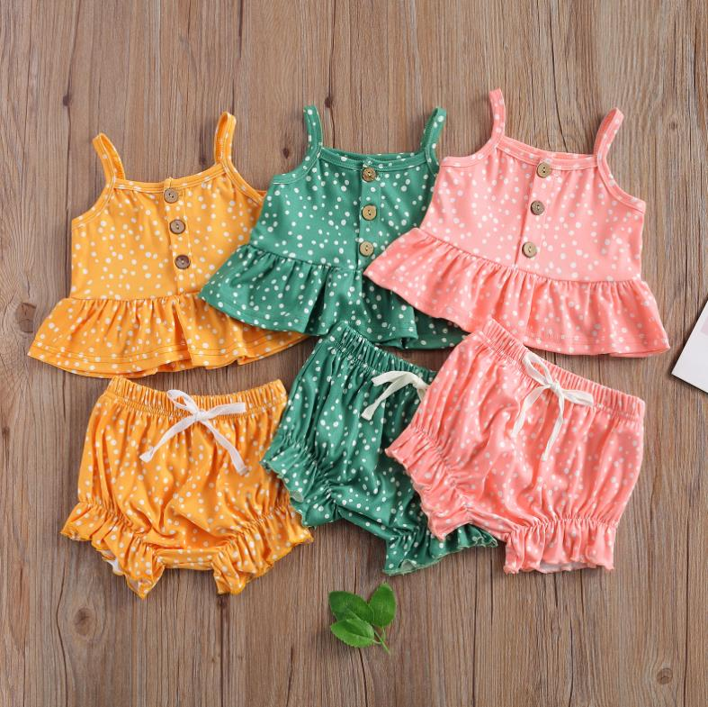 Summer Baby Girls Two-piece Clothes Set  Wave Points Printed Pattern Suspender Vest Tops Shorts Clothes Green/ Pink/ Yellow