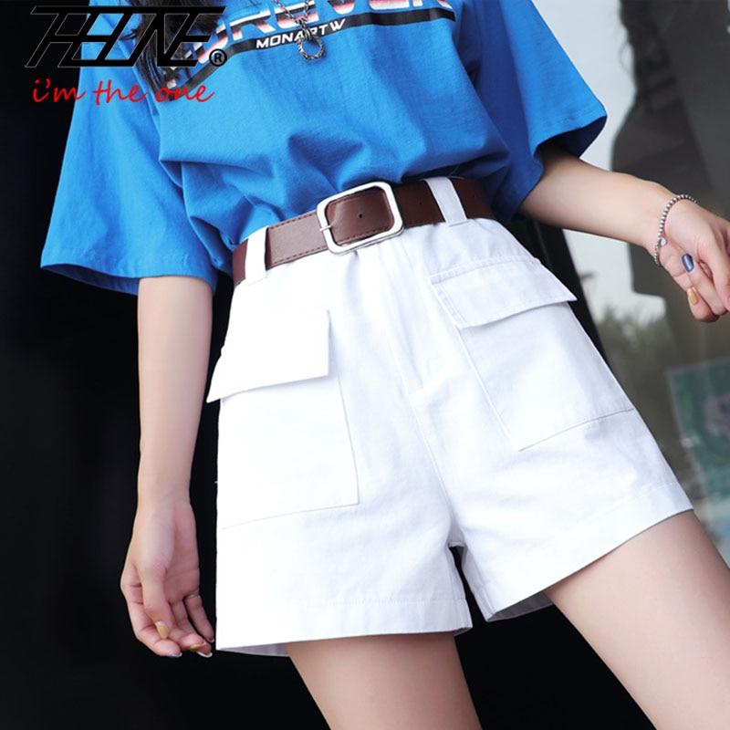 THHONE High Waist Shorts Women Cargo Pants Summer Casual Cotton Pocket Cool Style A-Line Wide Leg Short Trousers Plus Size 5XL
