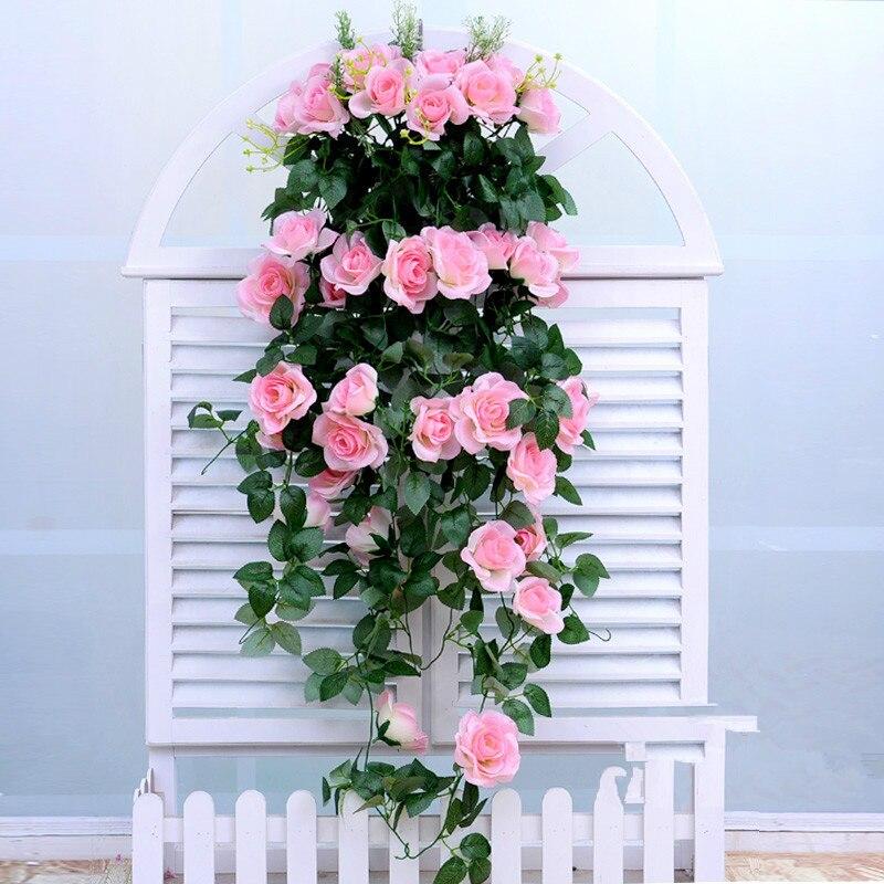 Flores hogar dormitorio Sala colgante boda Rosa artificial ramo jardín