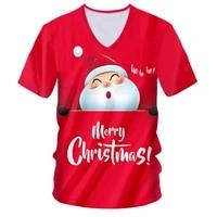 ogkb new fashion 3d printed v neck tshirts funny christmas santa claus men xmas tshirt casual cartoon party short sleeve t shirt