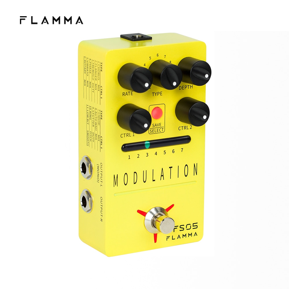 FLAMMA FS05 Modulation Pedal Stereo Digital Guitar Effects Pedal with 11 Modulation Effects and 7 Preset Slots True Bypass