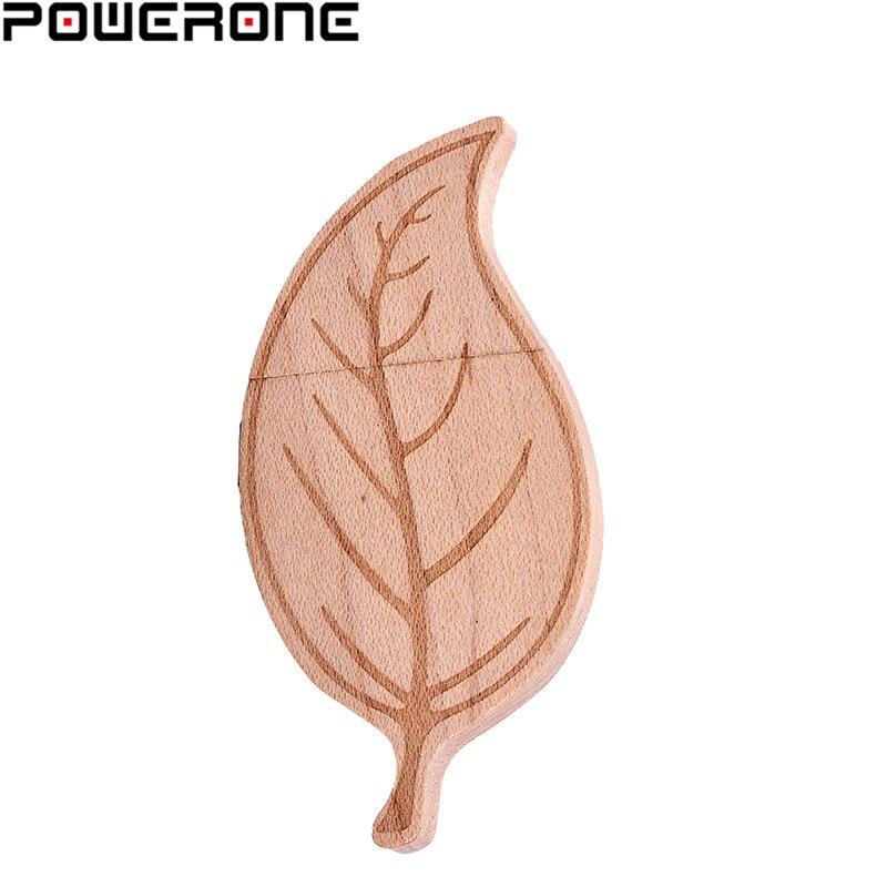 POWERONE (logo personnalisé gratuit) feuilles en bois USB lecteur flash stylo pilote feuille darbre en bois clé USB 4GB 16GB 32GB 64GB bâton de mémoire