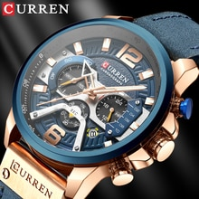 Wristwatch Mens CURREN  Top Brand Luxury Sports Watch Men Fashion Leather Chronograph Watches with D