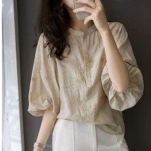 Summer Women Blouse Lantern Sleeve Female Tops Japan Style Shirt Chic Blouse Literary Button Retro B