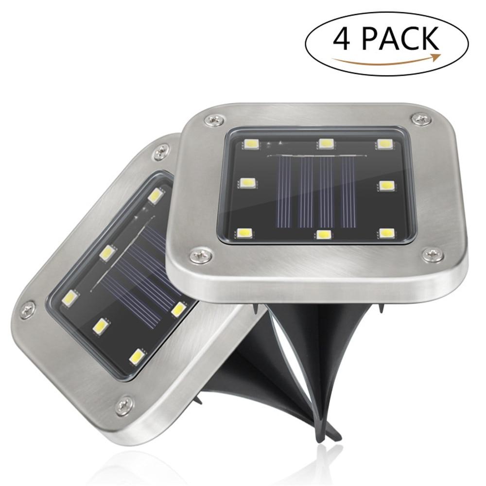4 Uds Solar al aire libre de iluminacion 8 llevo la luz enterrada bajo tierra lampara impermeable Camino cesped y jardin patio
