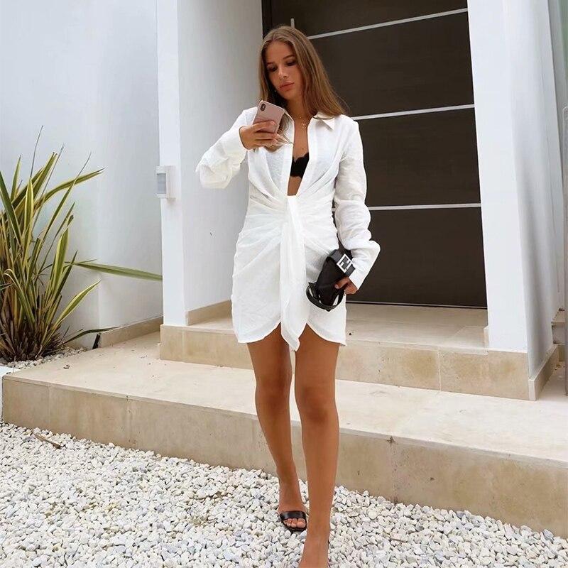 Aproms Elegant White Mini Dress Women Summer Long Sleeves Irregularity Pleated Holiday Beach Sexy Shirt Dress Female 2021 New
