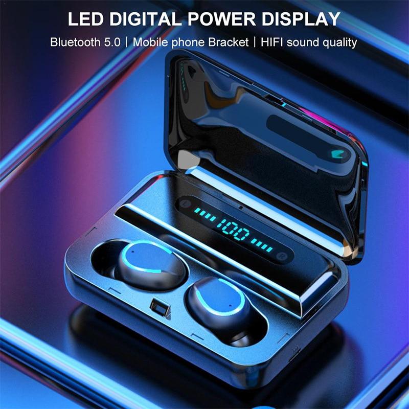 F9-5 Bluetooth headphone digital display charging bay TWS Bluetooth headphone dual-pass headphone light with breathing light