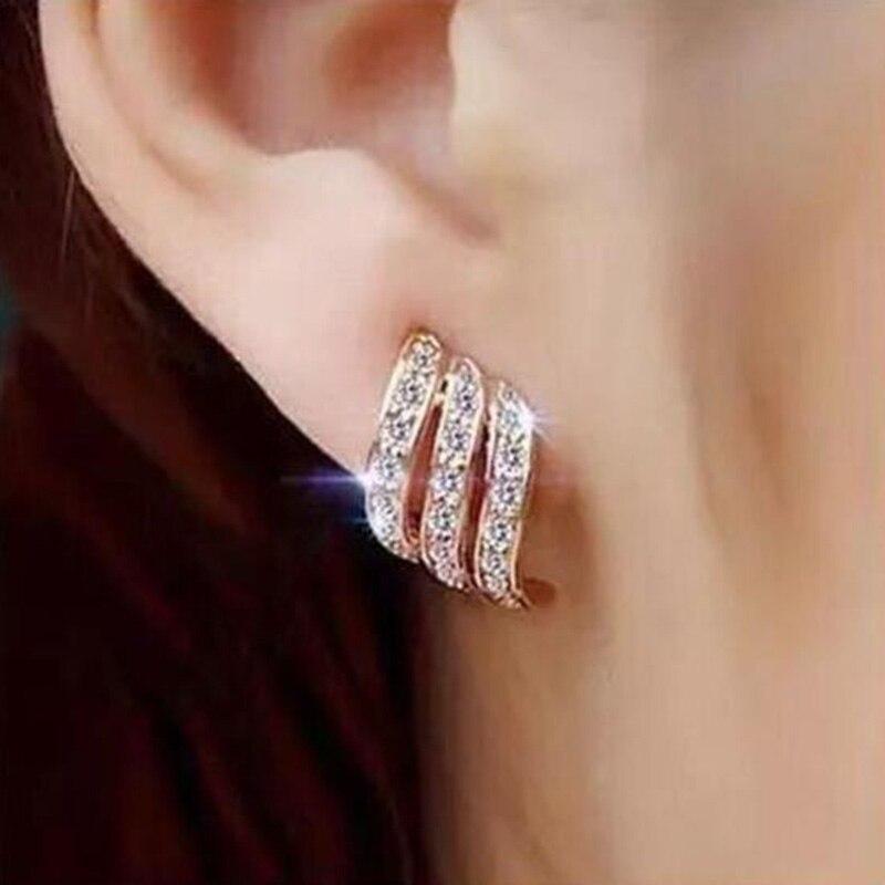 Clássico brinco de penas rosa ouro prata cor zircônia cúbica austríaca para feminino & meninas brinco dwe037