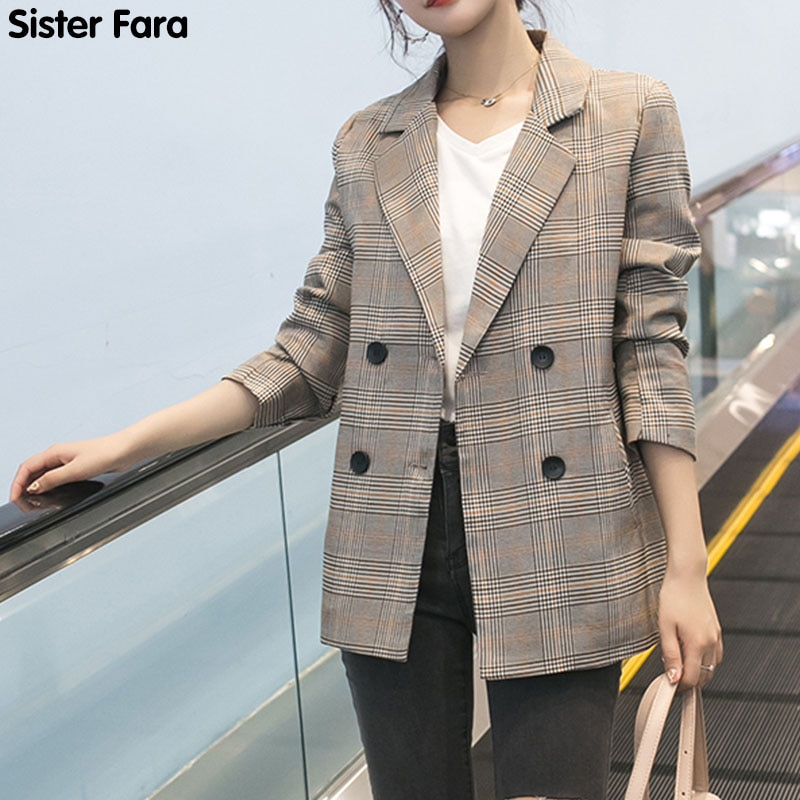 Sister Fara New Female Spring Blazer Jacket Office Lady Double Breasted Plaid Notched Collar Autumn Pockets Women Suits Coat office ladies notched collar plaid women blazer double breasted autumn jacket 2021 casual pockets female suits coat