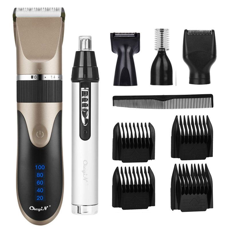 Máquina de Cortar Cabelo Profissional Máquina Corte Lâmina Cerâmica Elétrica Recarregável Nariz Orelha Barba Sobrancelha Trimmer Barbeador