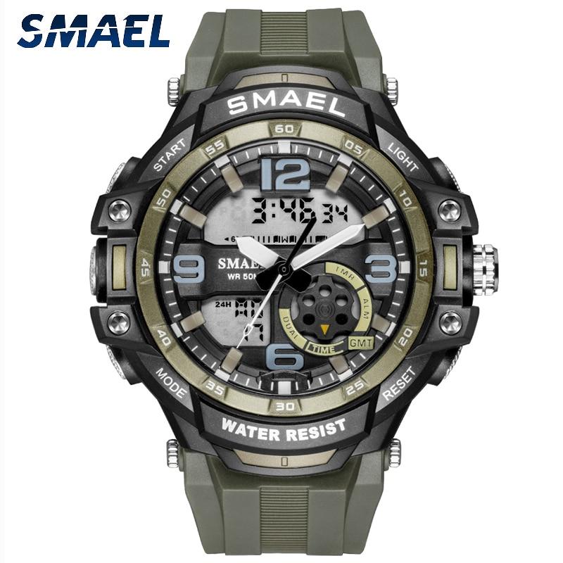 SMAEL Sport Watch Mens Watches Dual Display Watch Digital Quartz Men Army Green Military Alarm Clock Watchwrist Male Led Shock