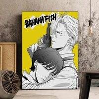 WTQ     affiches de dessin anime japonais poisson banane  peinture sur toile  decor mural  tableau dart mural pour decoration de salon  decoration de maison