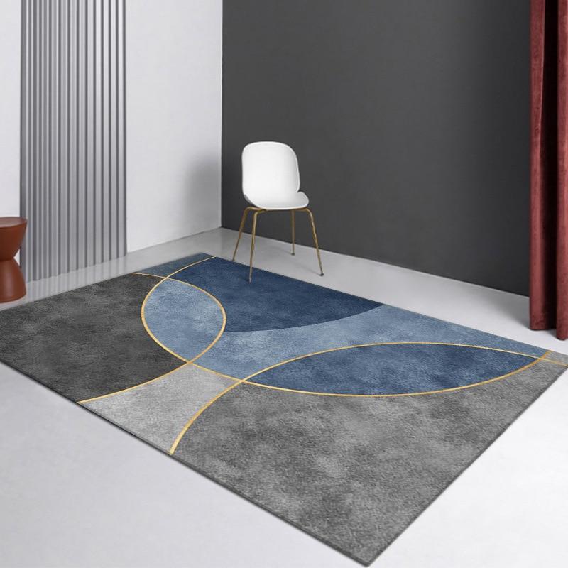 سجادة هندسية مجردة غير قابلة للانزلاق ، نمط نهر مضلع ، ديكور غرفة نوم ، سجادة أرضية