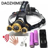 led headlamp headlight usb ir motion sensor head lamp light xml t6 high power 8000 lumens 18650 for fishing huntingusb