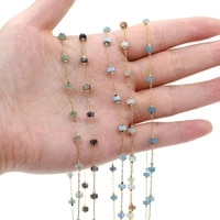 1 meter handmade gold wire wrapped rosary chain stone beads chains for jewelry making diy necklace bracelet anklet accessories