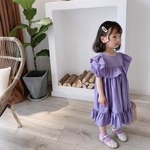 3581 Summer Girl's  Princess Dress Purple Sweet Ruffle O-Neck Collar Puff Sleeve Children Dress for Party and Wedding