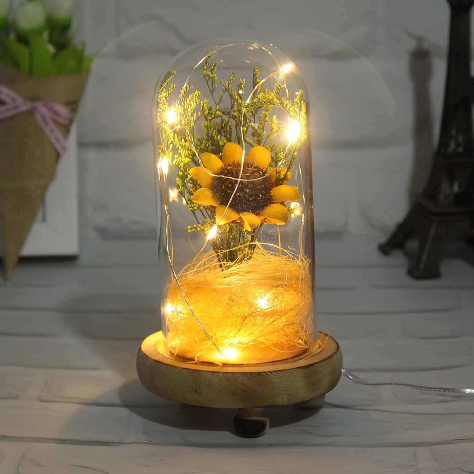 LED Night Lamp Ornaments Mother's Day Gifts Sun Flower Crafts DIY Lovers Grass Decoration Lamp Valentine's Day Party Home Decor the lovers day gifts