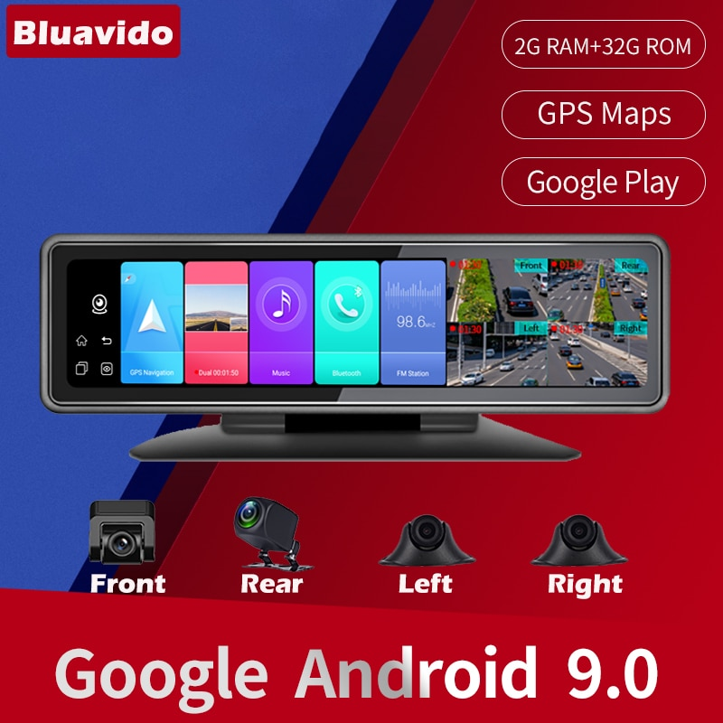 Bluavido 4 Cameras 4G Android 9.0 Car Dash Cam GPS Navigation HD 720P Video Recorder Dashboard DVR WiFi App Remote Monitoring