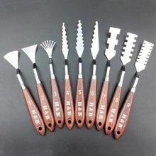 Ensemble de couteaux à Palette en acier   Inoxydable mixte, manche en bois, spatule pour artistes, outils de peinture à lhuile, racloir, lame 9 pièces/ensemble