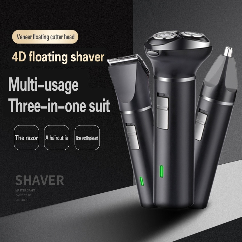 Usb Charging Triple Electric Shaver for Men ABS 5W Water Washing Quick-dry Razors Beard Shaver Hair Clipper Facial Epilator