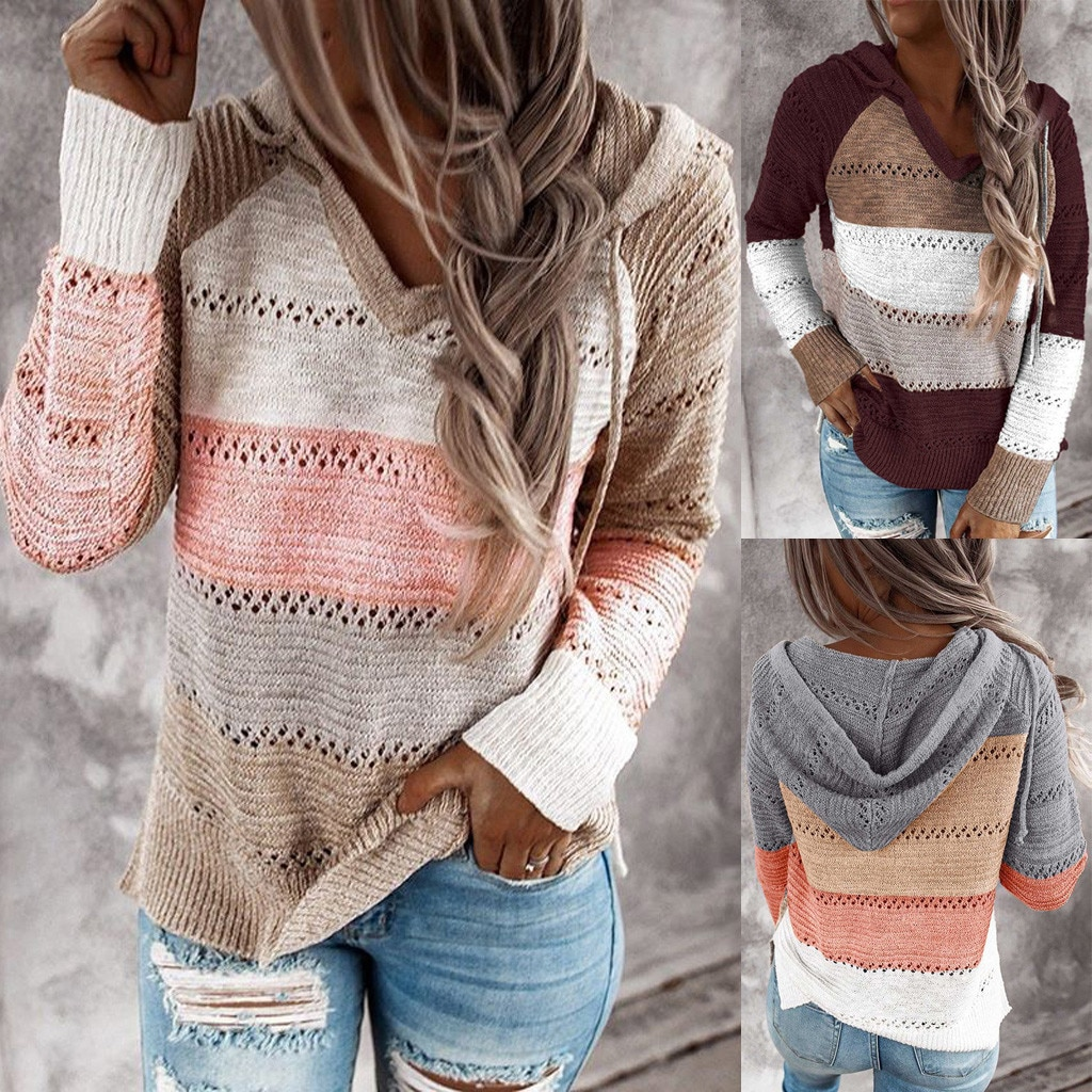 Jaycosin Patchwork Printed V-Neck Sweatshirts Long-Sleeved Pocket Casual Pullovers Graphic Tops Wome
