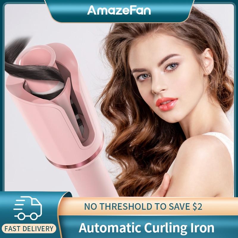 AmazeFan التلقائي الشباك الحديد الدورية المهنية أدوات التصميم بكرة ل الضفائر موجات السيراميك مجعد ماجيك الشعر بكرة