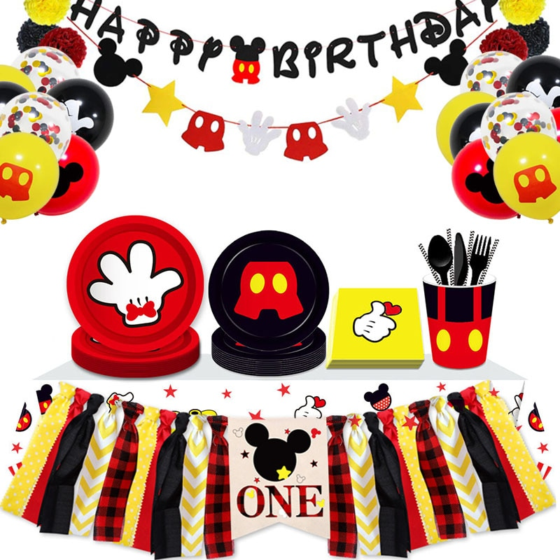 AliExpress - Mickey Mouse Themed Birthday Party 8 People Use The Cups And Plates Paper Tablecloths Party Supplies That Children Love To Decor