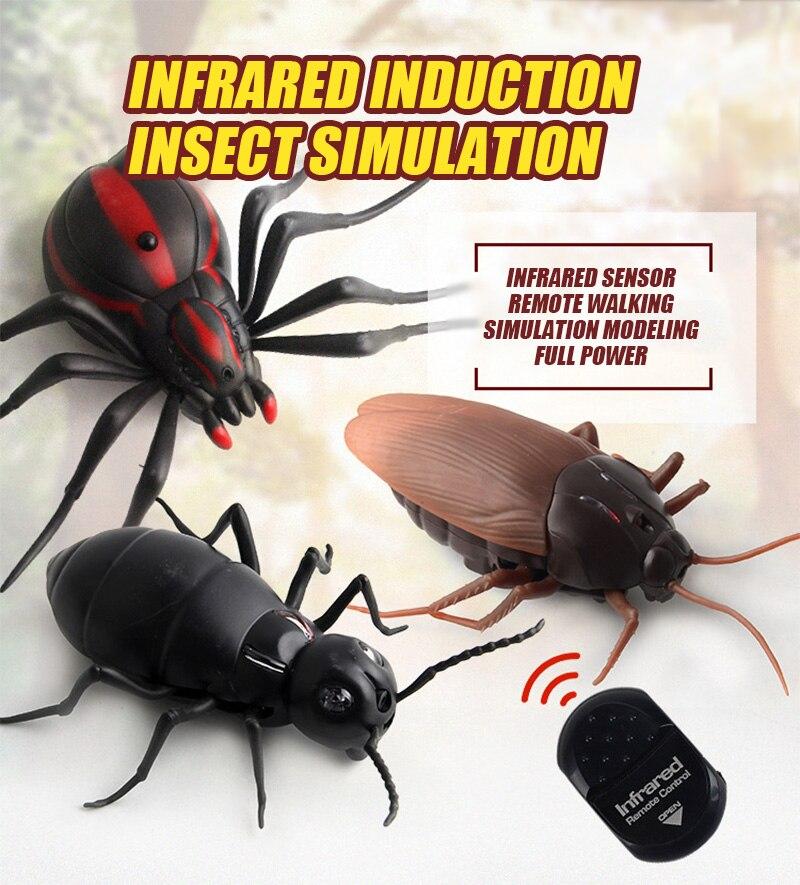 Broma de broma de alta simulación infrarroja Control remoto insecto modelo cucaracha araña hormiga juguete de Animal complicado