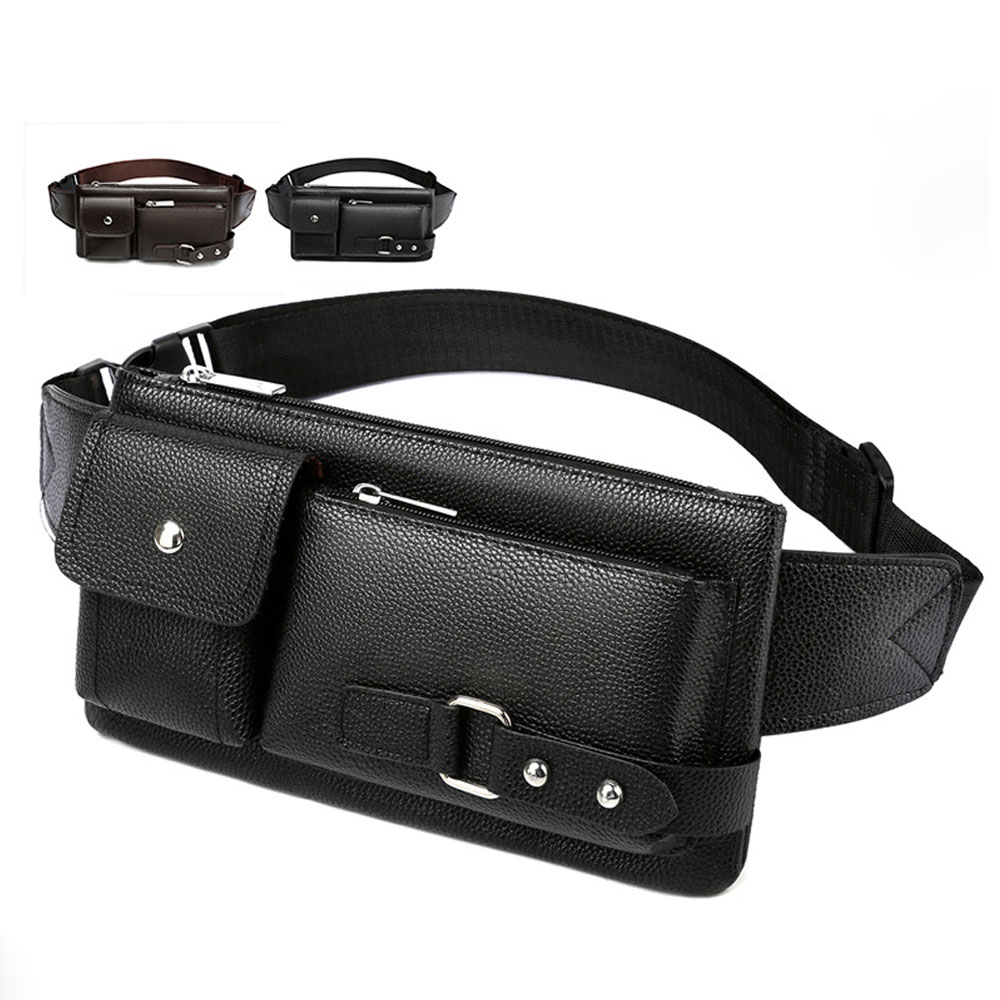 Vintage Leather Shoulder Bags for Men Fashion Business Waist Fanny Pack Casual Crossbody Bag New Trend Outdoor Travel Male Purse