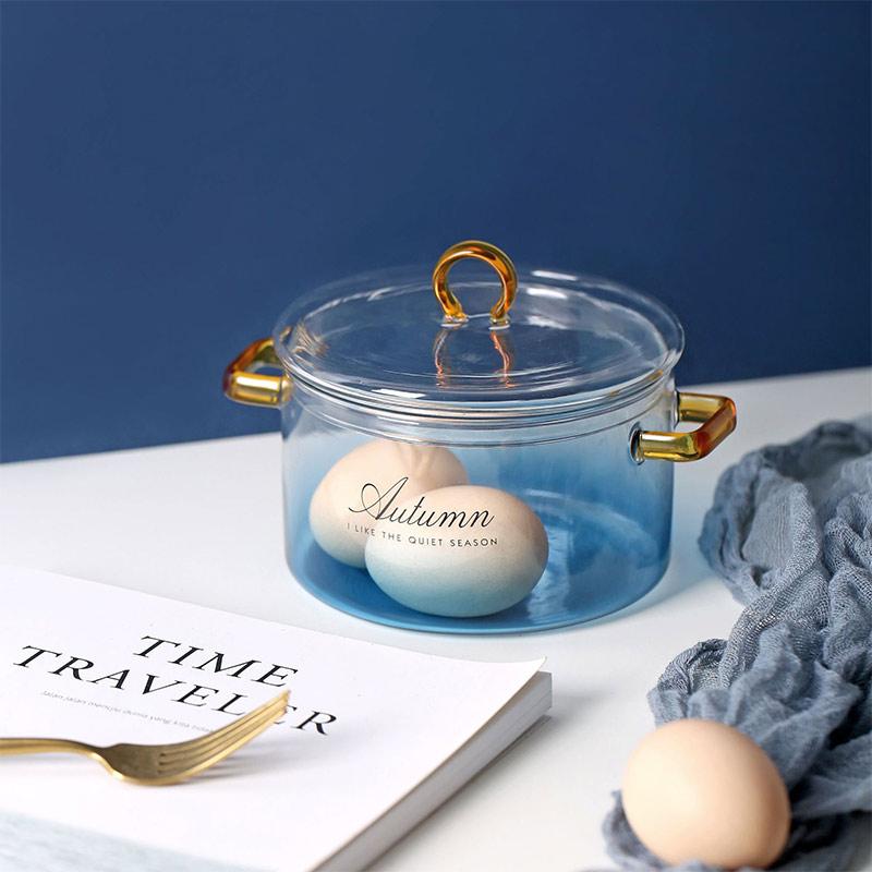 وعاء سلطة زجاجي متدرج اللون ، مقبض مزدوج مع غطاء ، أدوات مائدة سلطة فواكه ، نودلز كورية فورية/وعاء رامين