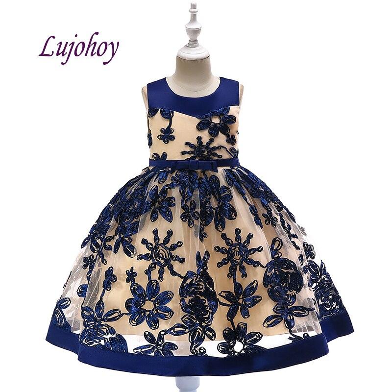 Azul marinho vestidos da menina de flor para casamentos festa de formatura flowergirl crianças pageant vestidos para meninas primeira comunhão vestidos