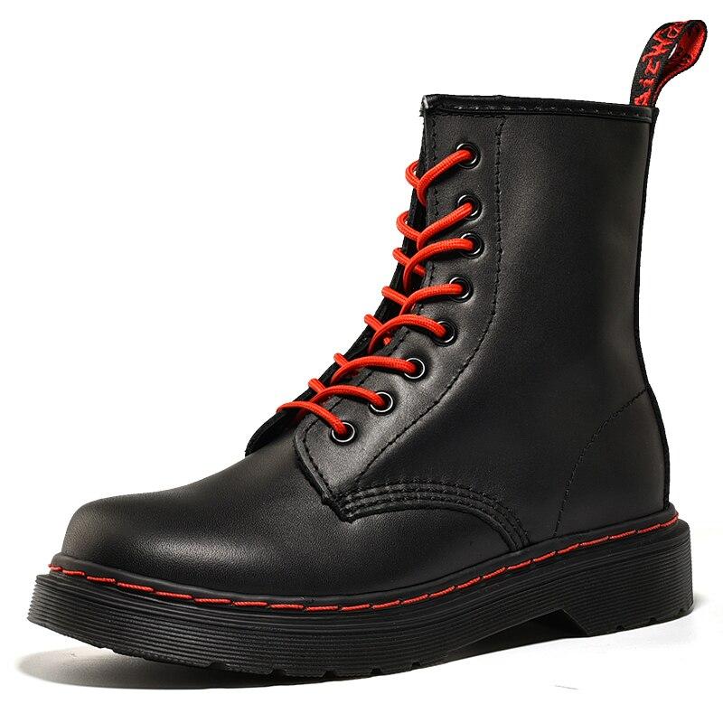 زوجين الشتاء أحذية النساء مارتنز الأحذية جلد طبيعي النساء حذاء من الجلد فاسق دراجة نارية أحذية نسائية كعب سميك الشتاء الأحذية