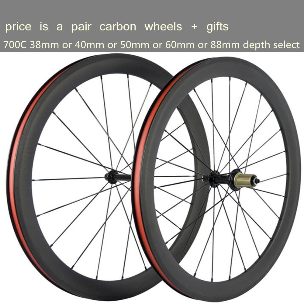 Peso ligero T1000 UD 3K 700C 38mm 40mm 50mm 60mm 88mm de profundidad bicicleta de carreras, ruedas de carbono juego de ruedas de bicicleta Taiwán XDB DPD ship