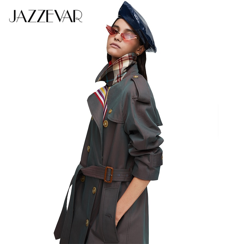 JAZZEVAR 2019, Новое поступление, Осенний Тренч цвета хаки, женское повседневное модное хлопковое длинное пальто с поясом высокого качества для женщин 9004