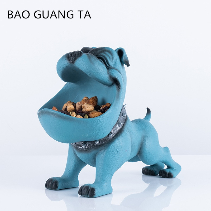 BAO GUANG TA Creative u estatua de Bulldog Francés perro de imitación decoración nórdica sala de estar entrada llave almacenamiento decoración del hogar A1949