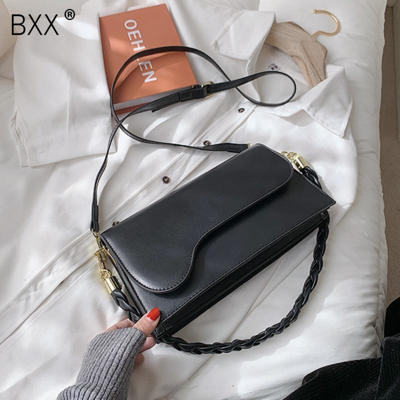 [BXX] Small PU Leather Crossbody Bags For Women 2021 New Spring Summer Luxury Handbags Lady Shoulder Purses Designer HR260